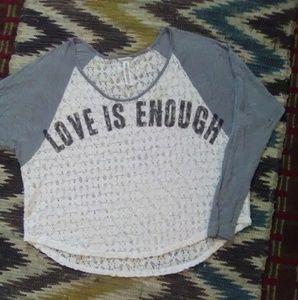 """❣ """"Love Is Enough"""" Lace Crop Top Sz M ❣"""